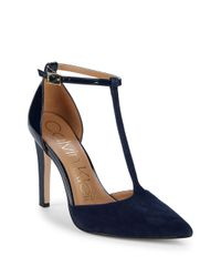 """Calvin Klein - Blue Patent Leather & Suede Ankle-strap Pumps/3.75"""" - Lyst"""