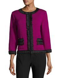 St. John Multicolor Rib-knit Zippered Jacket