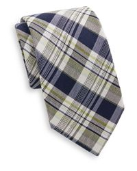 Saks Fifth Avenue | Blue Madras Plaid Cotton & Silk Tie for Men | Lyst