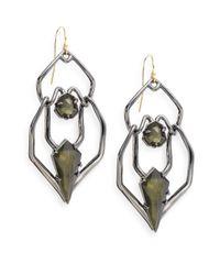 Alexis Bittar - Green Miss Havisham Kinetic Gun Pyrite Geometric Double-drop Earrings - Lyst