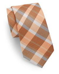 Saks Fifth Avenue | Orange Plaid Silk Tie for Men | Lyst