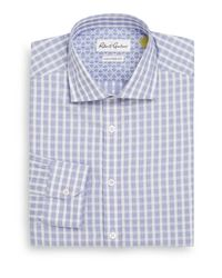 Robert Graham | Blue Tailored-fit Dobby Check Cotton Dress Shirt for Men | Lyst