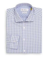 Robert Graham - Blue Tailored-fit Dobby Check Cotton Dress Shirt for Men - Lyst