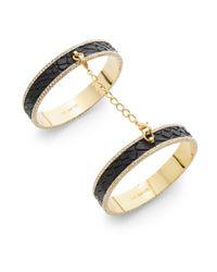 CC SKYE - Black Eternity Pavé Leather Double-bangle Bracelet - Lyst