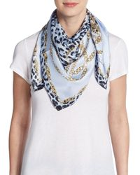 Roberto Cavalli | Blue Jaguar-print Silk Scarf | Lyst