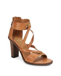 Elliott Lucca | Brown Leather Ankle Cuff Sandals | Lyst
