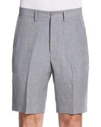 Saks Fifth Avenue Black | Gray Winn Chambray Linen Shorts for Men | Lyst