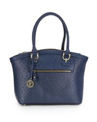 London Fog | Blue Knightsbird Ostrich-embossed Faux Leather Tote | Lyst