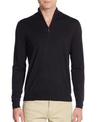 Saks Fifth Avenue | Black Quarter-zip Merino Wool Sweater for Men | Lyst