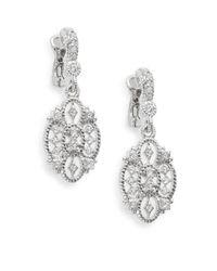 Judith Ripka | Metallic Castle White Sapphire & Sterling Silver Openwork Earrings | Lyst