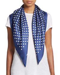 Valentino | Blue Polka Dot-silk Scarf | Lyst