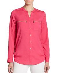 Calvin Klein | Pink Roll-sleeve Blouse | Lyst