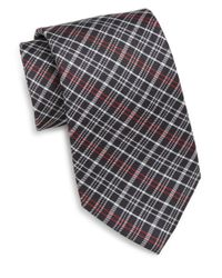Saks Fifth Avenue | Black Plaid Silk Tie for Men | Lyst