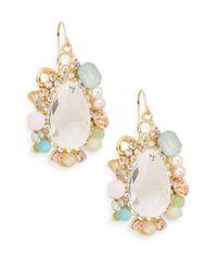 Gemma Simone | Multicolor 4mm White Round Pearl Multi-glitz Teardrop Earrings/goldtone | Lyst