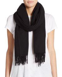 Saks Fifth Avenue | Black Blanket Fringe Wool-blend Scarf | Lyst