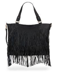 Urban Originals | Black Ziggy Fringe Faux Leather Convertible Tote | Lyst