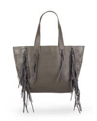Urban Originals | Gray Piper Fringe Faux Leather Tote Bag | Lyst