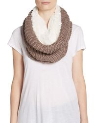 Modena Brown Faux Fur-lined Knit Infinity Scarf