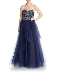 Notte by Marchesa | Blue Embroidered Empire Tiered Tulle Gown | Lyst