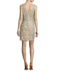 Aidan Mattox Natural Boatneck Sleeveless Embellished Dress