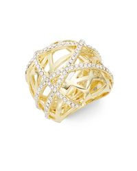 Saks Fifth Avenue | Metallic White Stone Cage Ring/goldtone | Lyst