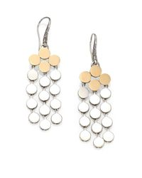 John Hardy | Metallic Dot 18k Yellow Gold & Sterling Silver Chandelier Earrings | Lyst
