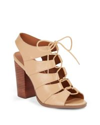Saks Fifth Avenue   Natural Leather Lace-up Chunky Heel Sandals   Lyst
