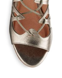 Joie - Quinn Metallic Leather Lace-up Sandals - Lyst