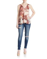 West Kei Multicolor Floral-print Hi-lo Top