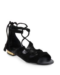 Saks Fifth Avenue Black Cadence Suede Lace-up Sandals