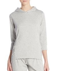 Saks Fifth Avenue - Natural Ruched Cotton Jersey Hoodie - Lyst