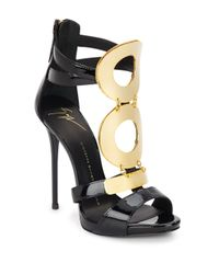 Giuseppe Zanotti | Natural Patent Leather Goldtone Ring Sandals | Lyst
