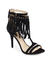 Nine West | Black Don't Dare Fringed Suede T-strap Sandals | Lyst