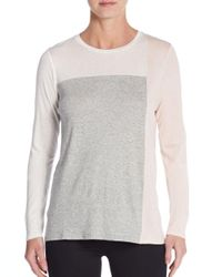 Vince | Gray Colorblock Pima Cotton & Modal Long Sleeve Tee | Lyst