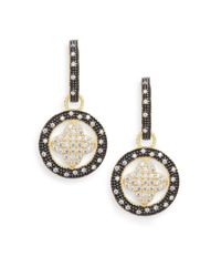 Freida Rothman | Metallic Round Pavé Clover Drop Earrings | Lyst