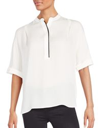 Vince | White Tipped Silk Top | Lyst
