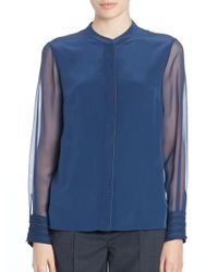 Elie Tahari - Blue Rachel Cuff-detail Long-sleeve Blouse - Lyst