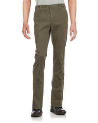 PT01 Green Cotton-blend Solid Pants for men