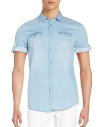 Calvin Klein Jeans | Blue Roll-tab Chambray Shirt for Men | Lyst