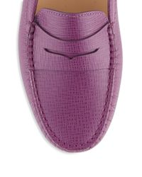 Tod's - Purple Leather Slip-on Loafers - Lyst
