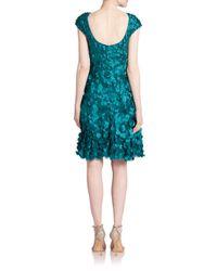 THEIA | Blue Petal-embellished Dress | Lyst