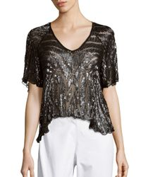 Parker | Black Embellished Asymmetric Raglan Sleeve Top | Lyst