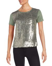 MLV   Natural Rosalyn Sequined-front Tee   Lyst