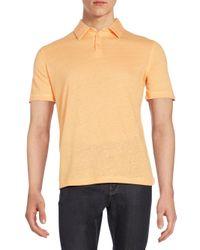 Saks Fifth Avenue - Orange Linen-jersey Polo Shirt for Men - Lyst