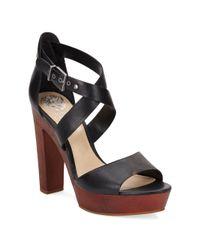Vince Camuto | Brown Eliza Leather & Wood Platform Sandals | Lyst