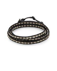 Chan Luu - Metallic Pyrite & Sterling Silver Wrap Bracelet - Lyst