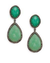 Bavna - Green Chrysoprase, Champagne Diamond & Sterling Silver Drop Earrings - Lyst