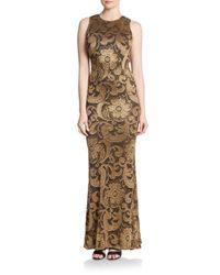 Alice + Olivia Brown Roxie Floor-length Diamond-back Dress