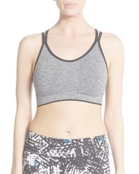 Marc New York - Gray Strappy Back Sports Bra - Lyst