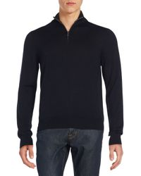 Saks Fifth Avenue | Black Zip-up V-neck Merino Wool Sweater for Men | Lyst
